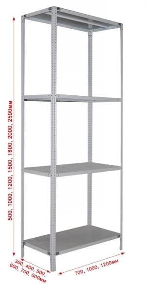 Стеллаж металлический сборный 234-2.5 купить на выгодных условиях в Нижнем Новгороде